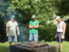 Shane and Eric Roper and Scott grilling chicken